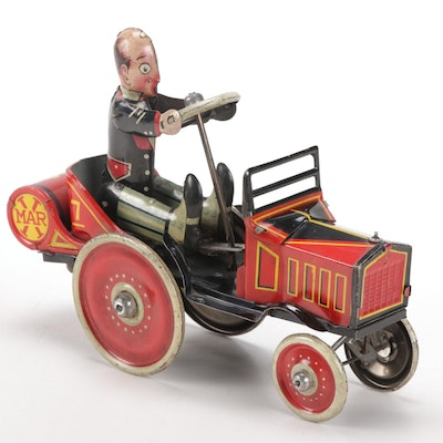Louis Marx & Co Tin Wind-Up Coo Coo Car, 1930s
