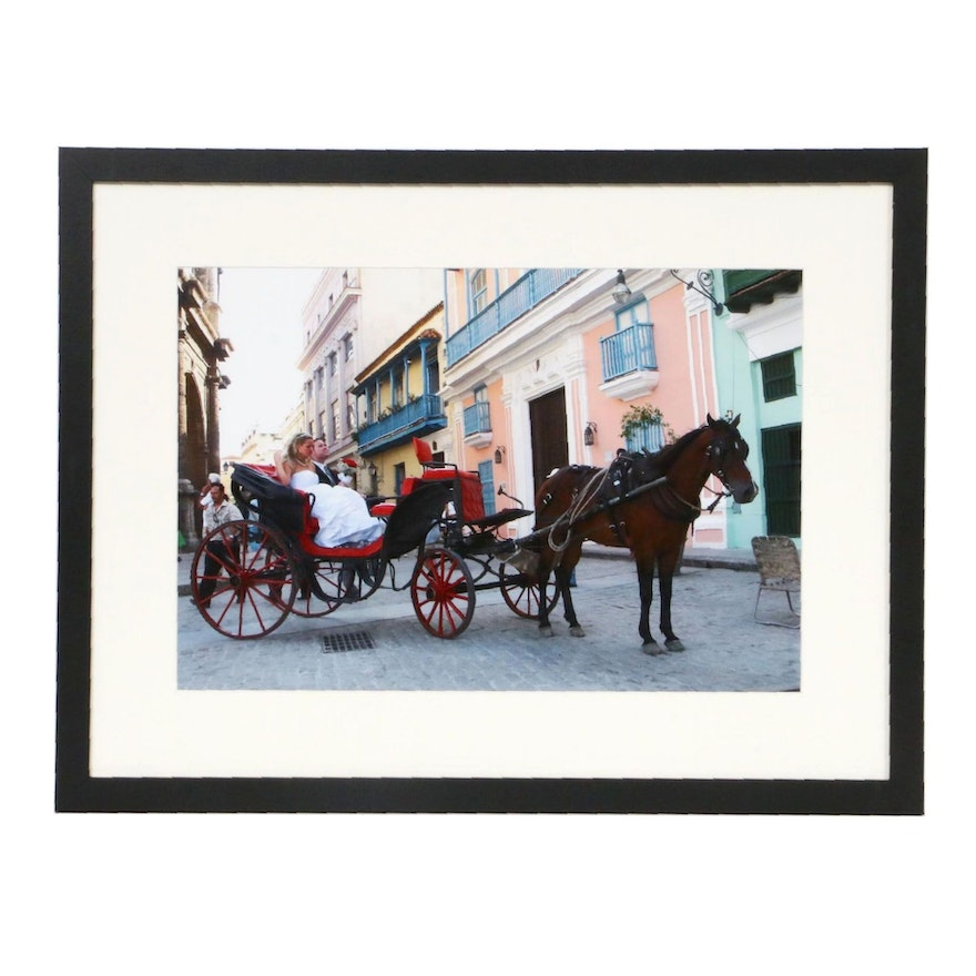Helmut Horn Color Photograph of Cuban Wedding Carriage