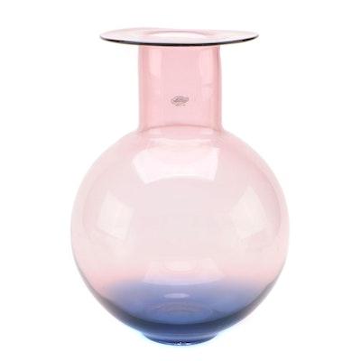 Blenko Blue to Purple Ombre Glass Bulbous Vase