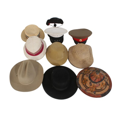 Cultural Costume, Military, and More Men's Hats Including Stetson, Vintage