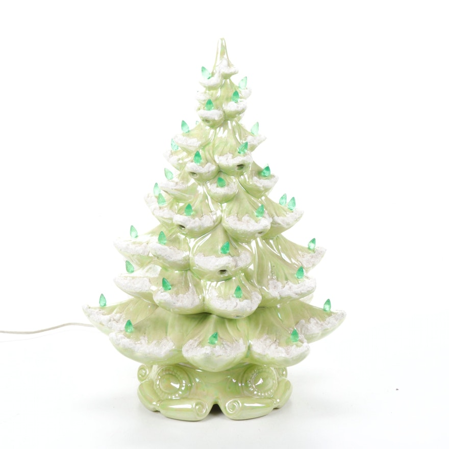 Illuminated Ceramic Christmas Tree Lamp, Mid to Late 20th Century