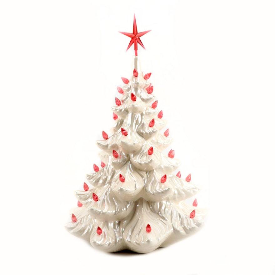 White Lusterware Ceramic Christmas Tree, 1981