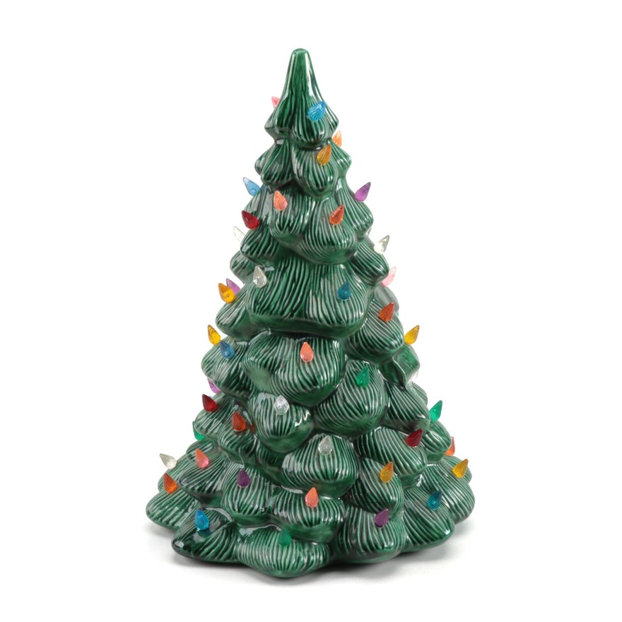 Ceramic Table Top Christmas Tree with LED Votive Candle