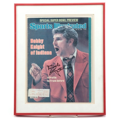 """Bobby Knight and Frank Deford Signed """"Sports Illustrated"""" Magazine Cover"""