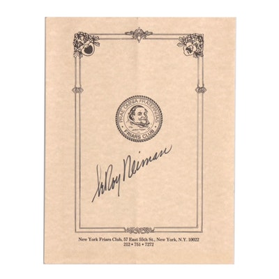 """LeRoy Neiman Signed """"New York Friars Club Honors Jerry Lewis"""" Program, 1986"""