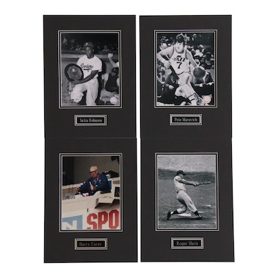 Robinson, Maravich, Carey, and Maris Matted Photo Prints, Contemporary