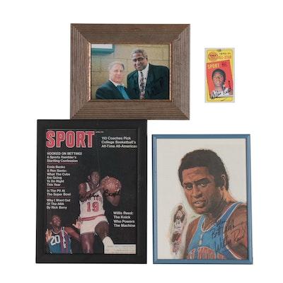 Willis Reed Signed New York Knicks Basketball Photo Print, Magazine, and Card