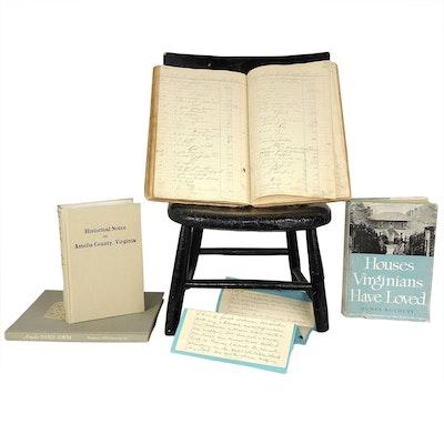 19th C. Ledger, Facsimile Thos. Jefferson Will, Virginia History Books, and More