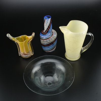 Blown Glass Vase and Bowl with More Glass Décor