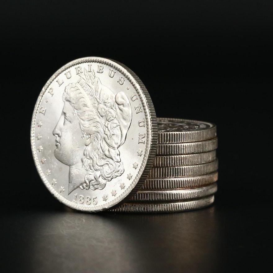 Eight Uncirculated Morgan Silver Dollars