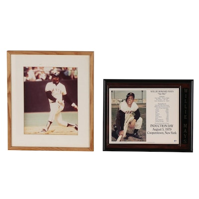 Willie Mats Hall of Fame Induction Display with Framed Action Photo Print
