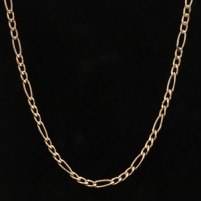 14K Yellow Gold Figaro Chain Link Necklace