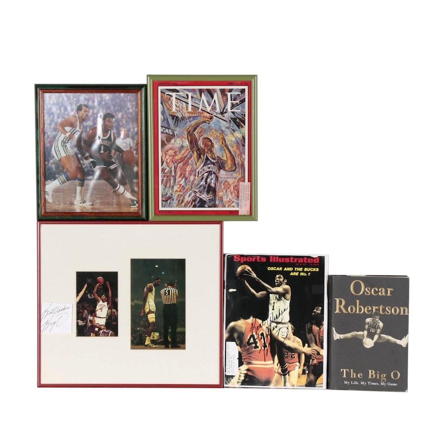 """Oscar Robertson NBA Basketball Memorabilia Including """"The Big O"""" Book"""