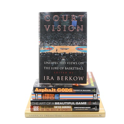 "First Edition ""Court Vision"" with Additional Basketball Books, Six Volumes"