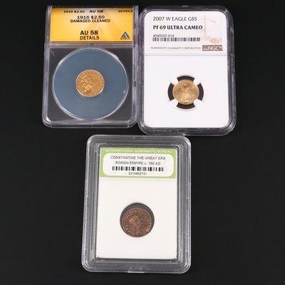 Two Graded U.S. Gold Coins and an Ancient Coin