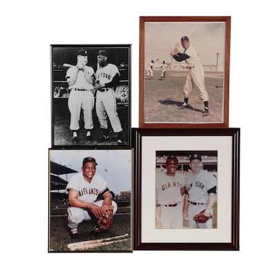 Mickey Mantle and Willie Mays Framed Baseball Photos, Late 20th Century