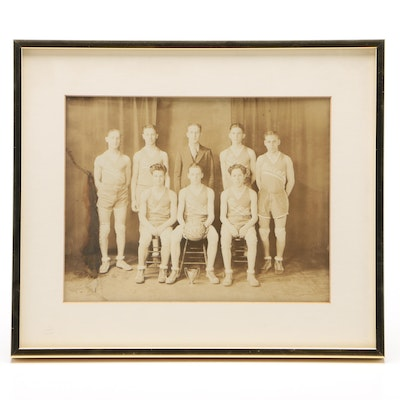 """Maccabee"" Basketball Team Matted and Framed Photograph, circa 1929-1930"