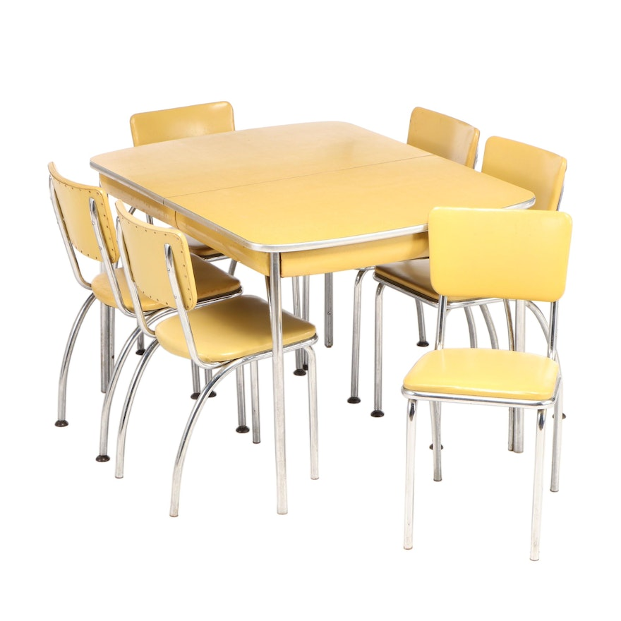 Howell Chromsteel Furniture, Seven-Piece Yellow Dinette Set, Mid-20th Century