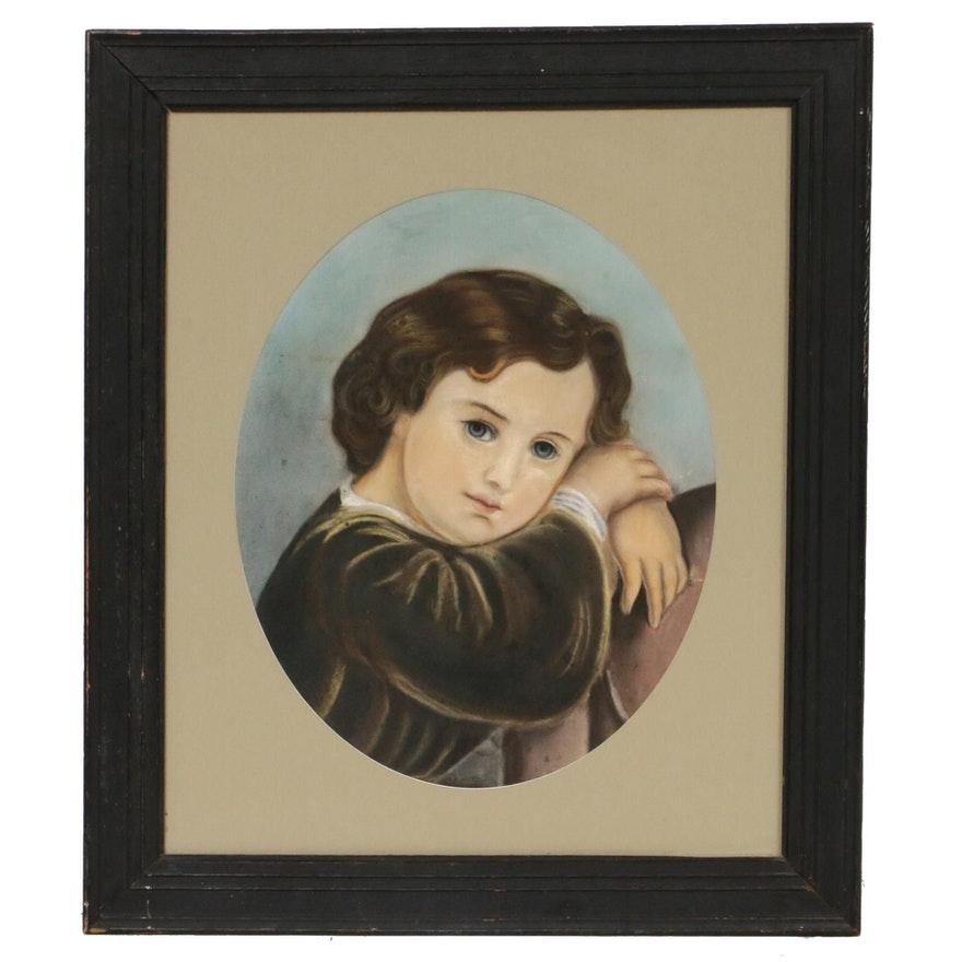 Portrait of Young Child Pastel Drawing, Late 19th to Early 20th Century