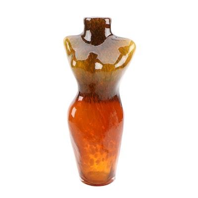 Mottled Orange and Brown Art Glass Nude Female Figural Vase