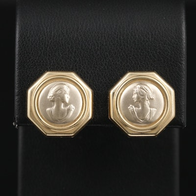 14K Yellow and White Gold Cameo Earrings