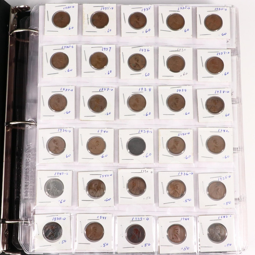 Album of 380 Lincoln Wheat Cents Ranging from 1910-1958