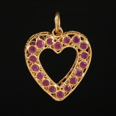 18K Yellow Gold Ruby Heart Pendant