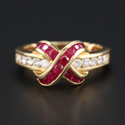 "Charles Krypell ""Brilliance"" 18K Yellow Gold Ruby and Diamond Ring"