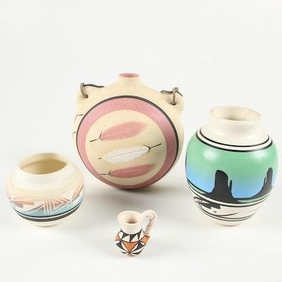 J.V. Garcia Acoma Pottery and Other Southwestern Pottery Vases