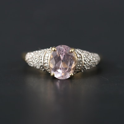 14K Yellow Gold Kunzite and Diamond Ring