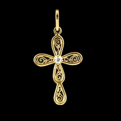 18K Yellow Gold Diamond Cross Pendant With Wire Work Accents
