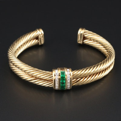 "David Yurman ""Renaissance"" 14K Emerald and Diamond Cuff Bracelet"