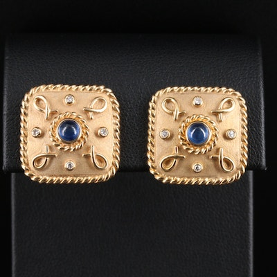 14K Yellow Gold Sapphire and Diamond Button Earrings