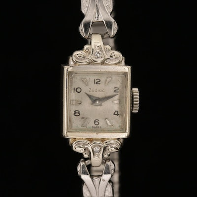 Vintage Zodiac 14K Gold and Diamond Stem Wind Wristwatch