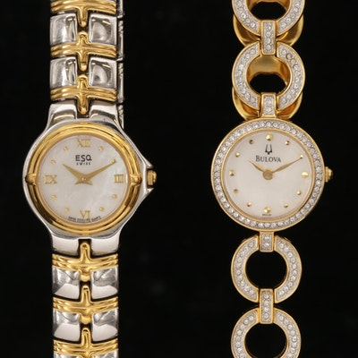 Bulova and ESQ Two Tone Watches with Mother of Pear Dials and Crystal Accents