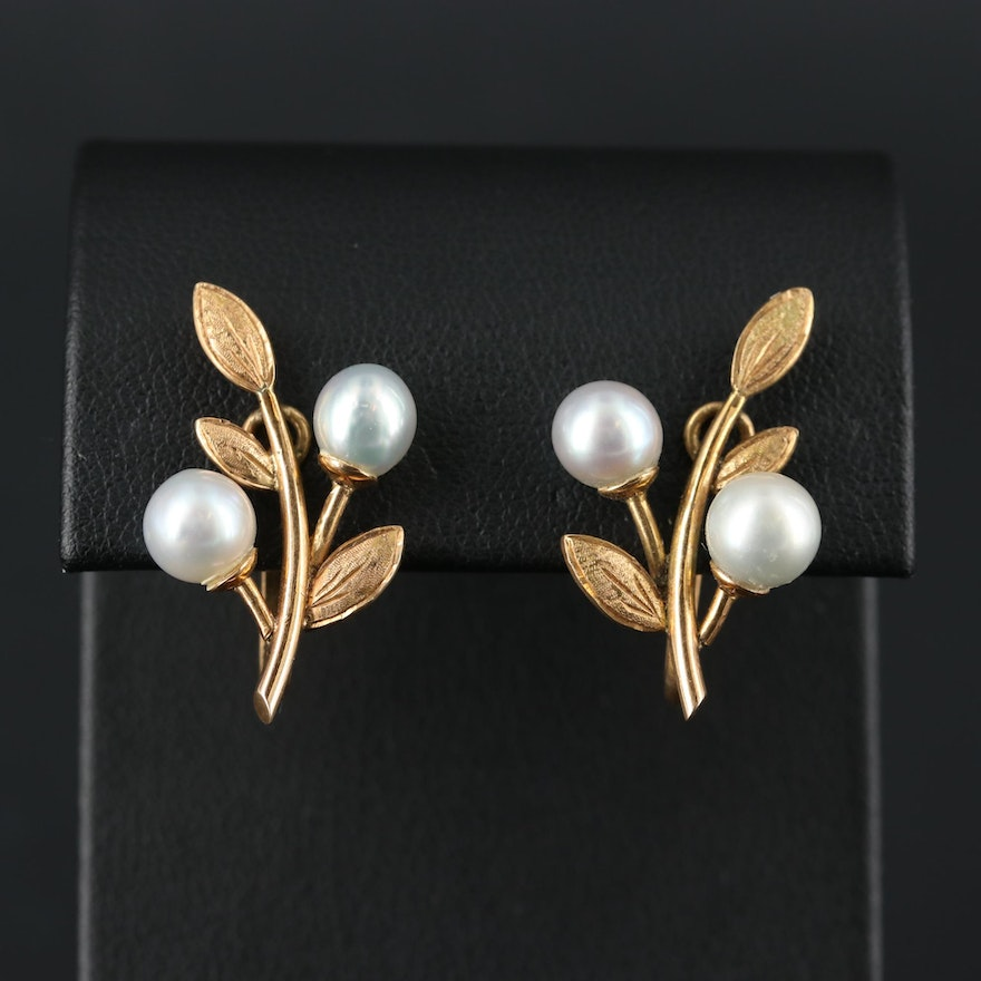 Vintage 14K Yellow Gold Pearl Floral Earrings
