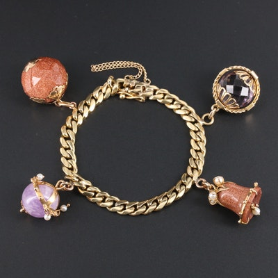 Vintage 18K Charm Bracelet with Sunstone, Amethyst and Pearl