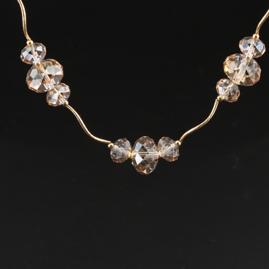14K Yellow Gold Glass Bead Necklace