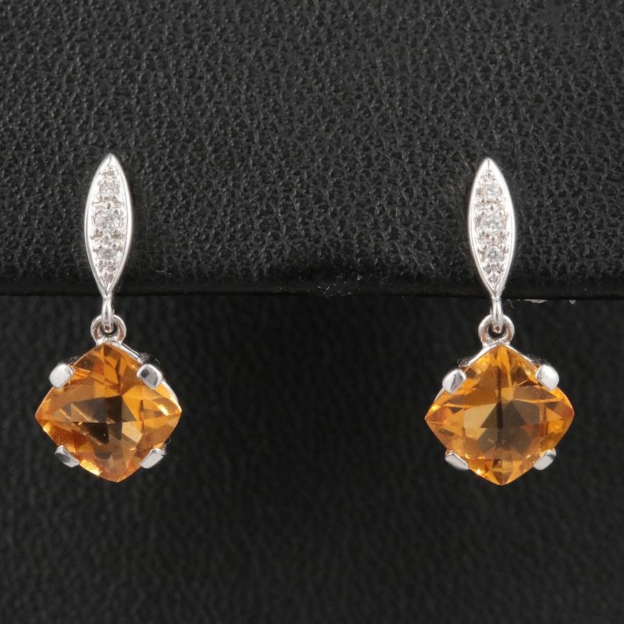 14K White Gold Citrine and Diamond Drop Earrings