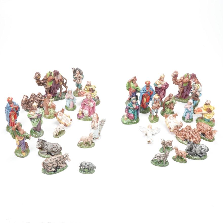 Signed Hand-Painted Porcelain Nativity Sets