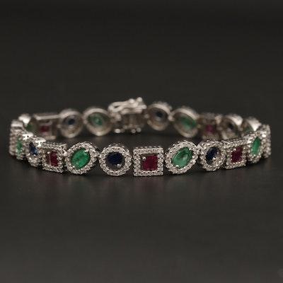 14K Gold Ruby, Sapphire, Emerald and 1.90 CTW Diamond Halo Bracelet
