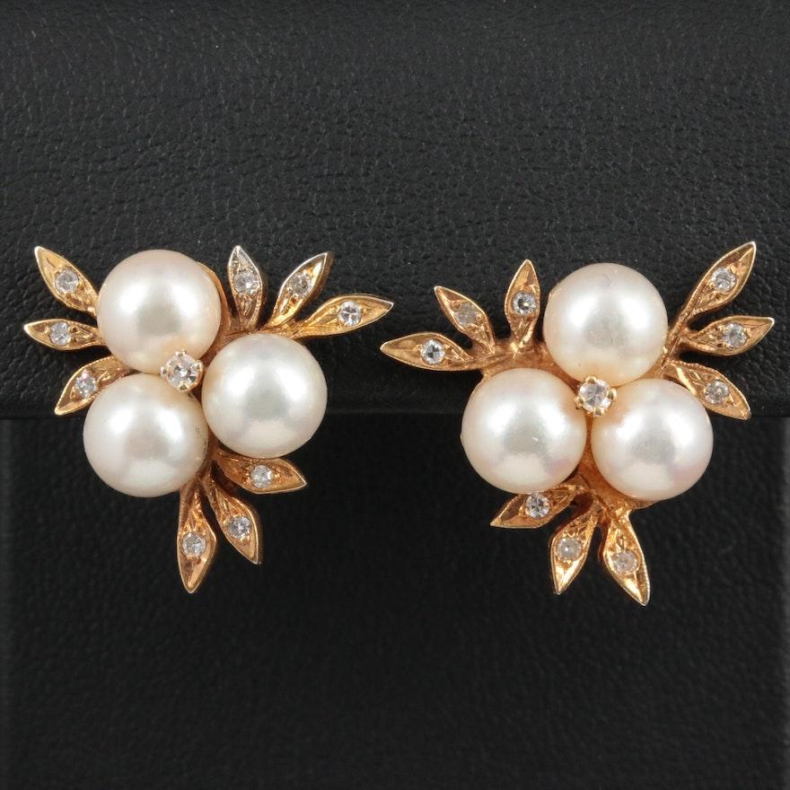 14K Yellow Gold Pearl and Diamond Earrings