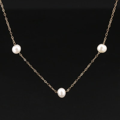 14K Yellow Gold Pearl Station Necklace