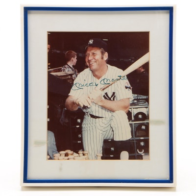 Mickey Mantle Signed New York Yankees Framed Baseball Photo Print