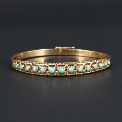 19K Yellow Gold Turquoise and Ruby Bracelet