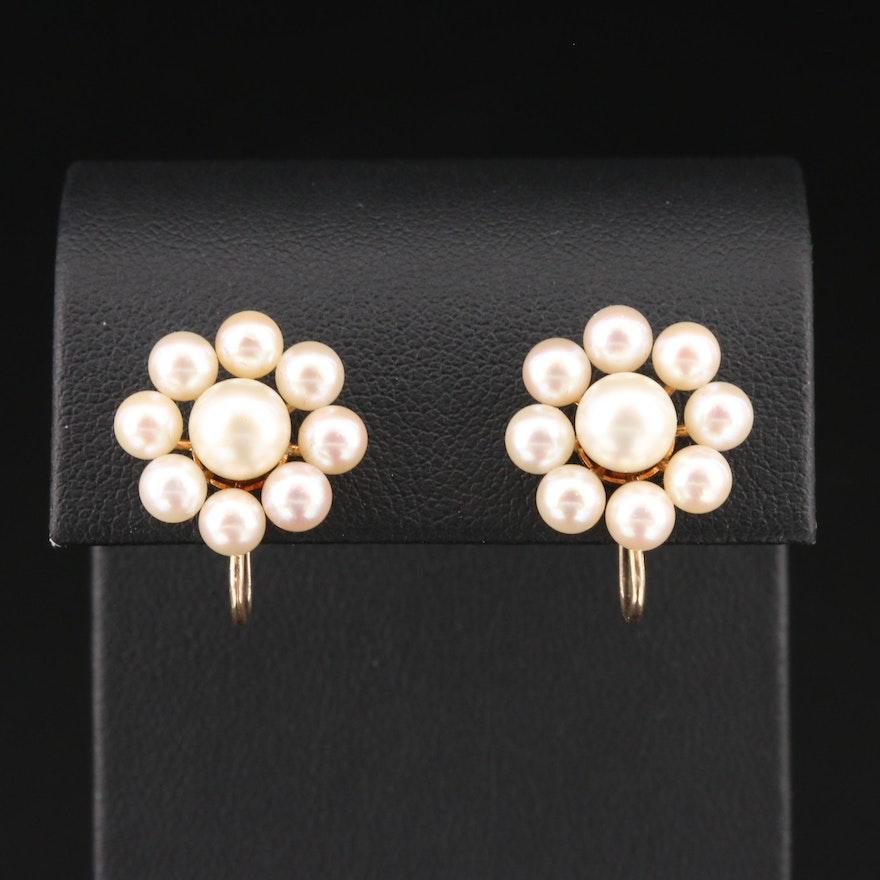 Vintage 10K Yellow Gold Pearl Earrings