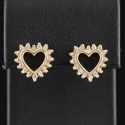 14K Yellow Gold Diamond Heart Earrings