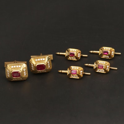 Doris Panos 18K Yellow Gold Ruby and Diamond Cufflinks and Shirt Studs