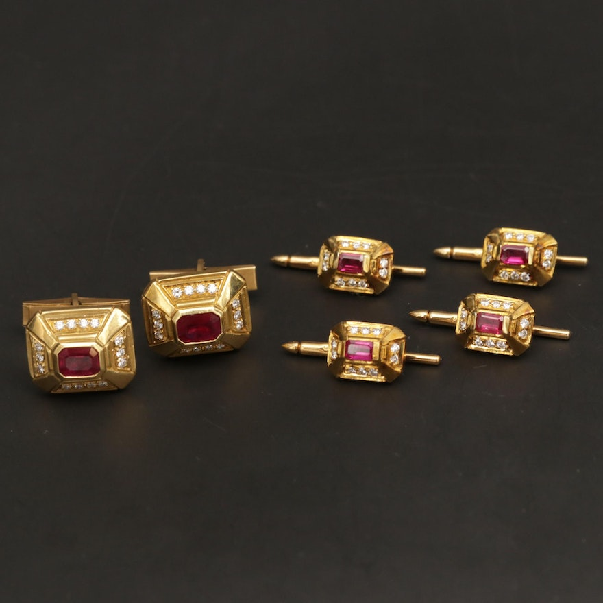 Doris Panos 18K Yellow Gold Ruby and Diamond Cufflinks and Shirt Studs