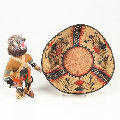 Southwestern Style Kachina Doll and Woven Basket Tray, Late 20th Century